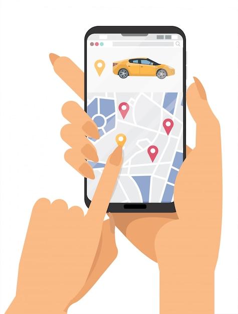 Car sharing service banner Premium Vector
