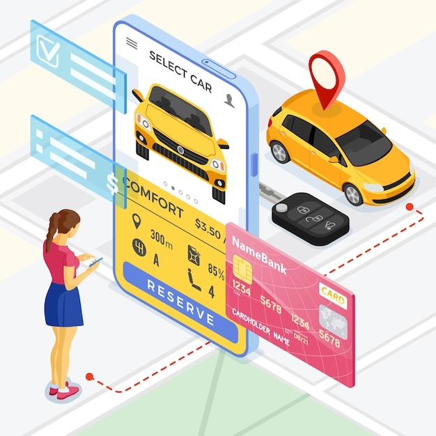 カーシェアリングサービスのコンセプト。オンラインの女性がカーシェアリング用の車を選びます。レンタカー、カープール、モバイルアプリケーションを介した市内旅行で共有。等尺性 Premiumベクター