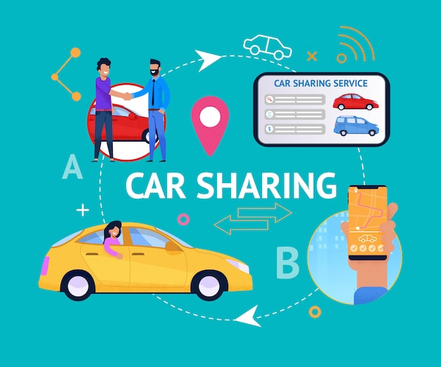 Car sharing service cycle. Premium Vector