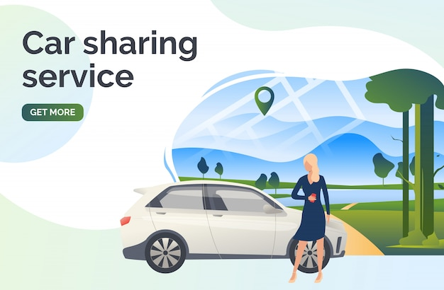 Car sharing service lettering, woman, car and landscape Free Vector
