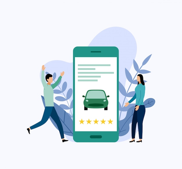 Car sharing service, mobile city transportation. Premium Vector