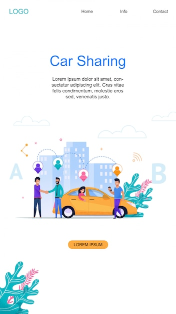 Car sharing vertical banner and modern online carpool service layout Premium Vector