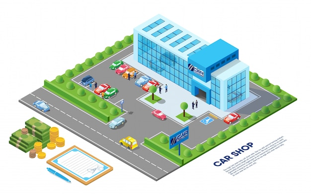 Car shop isometric illustration Premium Vector