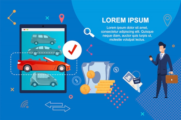 Car shopping. payment by cash or credit card. Premium Vector