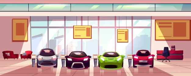 Car showroom - new auto dealership in big room. hall with shop window, glass showcase. Free Vector
