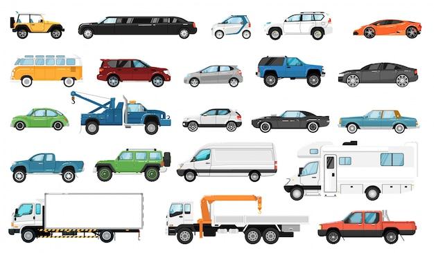 Car side view. bus, motorhome, hatchback, van, tow truck, sedan, pickup, taxi, limousine, suv car vehicle isolated icon set. city auto motor transport models, transportation. Premium Vector