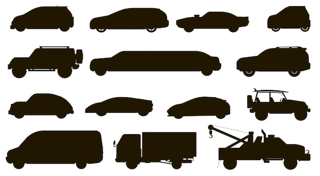 Car silhouette. different automobiles type. isolated hatchback, cuv, van, tow truck, sedan, taxi, suv car vehicle flat icon collection. city auto motor transport types and transportation Premium Vector