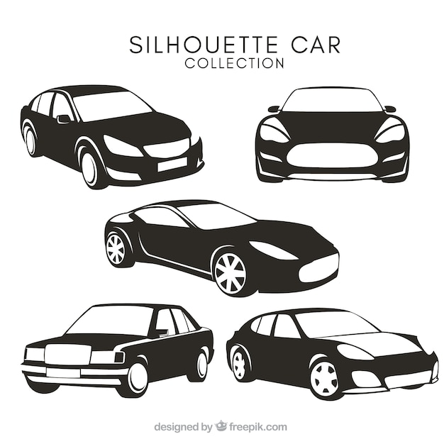 car silhouettes with different designs vector free download