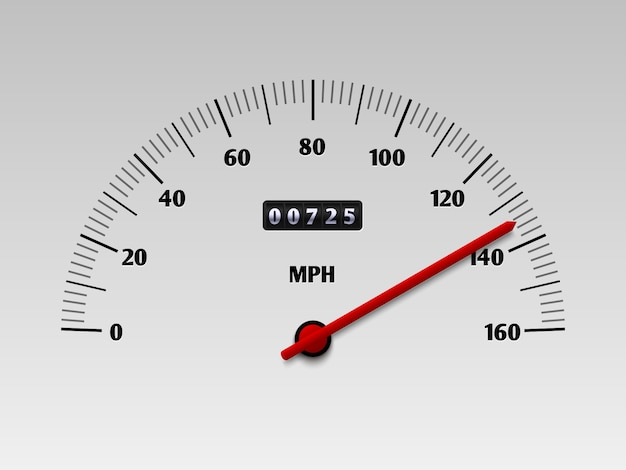 Car speedometer with speed level scale or tachometer vector illustration isolated Premium Vector
