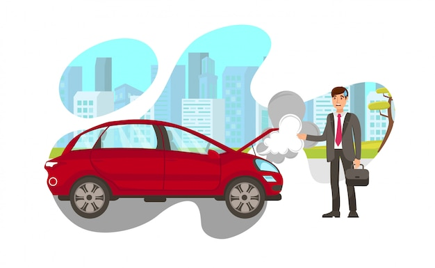 Car steaming on road flat vector illustration Premium Vector