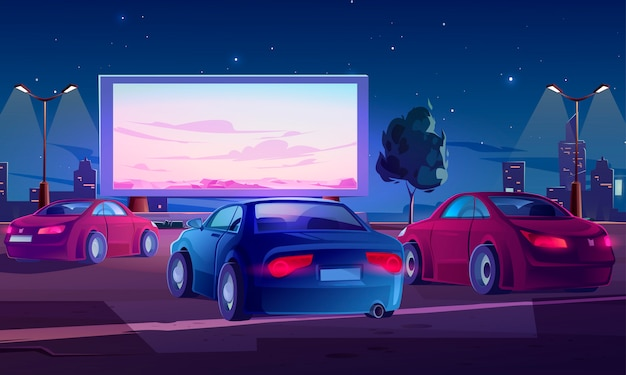 Car street cinema. drive-in theater with auto Free Vector