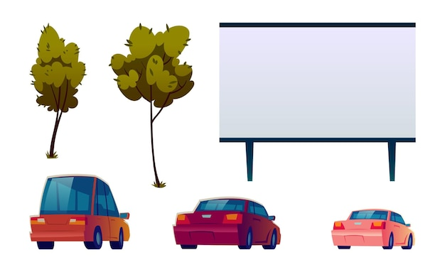 Car street cinema isolated set Free Vector