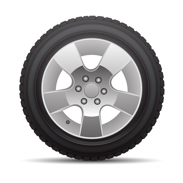 Car tire radial wheel metal alloy on isolated Premium Vector