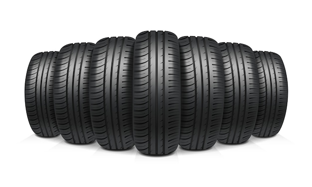 Car tires realistic design concept Free Vector