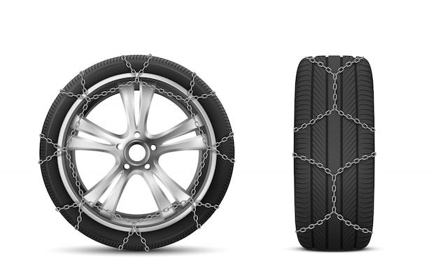 Автомобильные шины с цепями противоскольжения для зимней дороги Бесплатные векторы