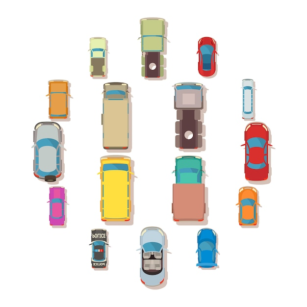 Car top view above over icons set, flat style Premium Vector