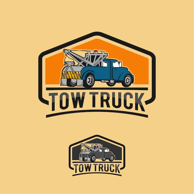 Car tow truck emblems, labels and design elements, pickup truck logos, emblems and icons. Premium Vector