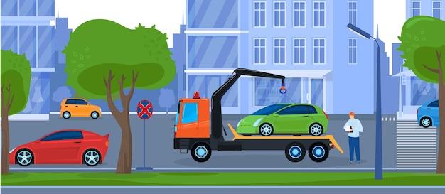 車のレッカー車修理サービスのイラスト。 Premiumベクター