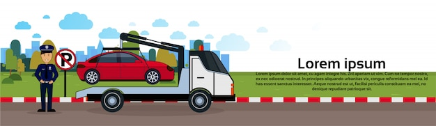 Car in towing away zone of parking vehicle evacuation view horizontal banner Premium Vector