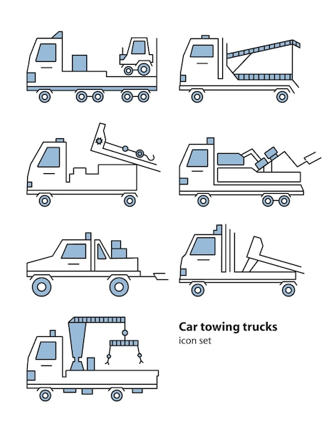 Car towing truck roadside assistance. vector lineart illustration for icon, logo Premium Vector