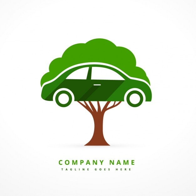 Car and tree business logo Free Vector