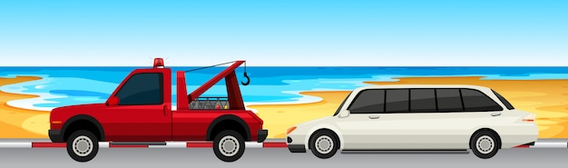 Car and truck parked on the road Free Vector