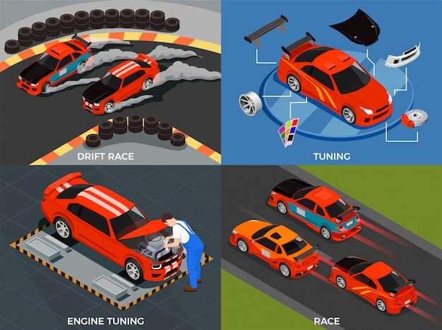 Car tuning concept set of engine and body modifications for drift race isometric Free Vector