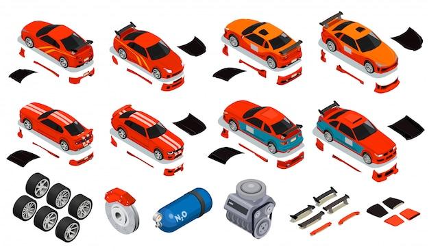 Авто тюнинг изометрические иконки набор улучшения колесные диски шины азот заправка газовый баллон разблокировка обвес двигателя Бесплатные векторы
