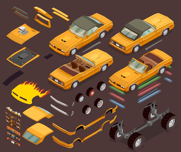 Car tuning snyling parts isometric set Free Vector