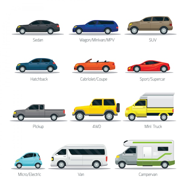 Car types and models objects set, automobile, multicolor Premium Vector