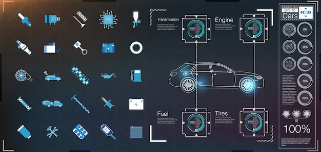 Пользовательский интерфейс автомобиля. hud ui. абстрактный виртуальный графический интерфейс пользователя касания. Premium векторы