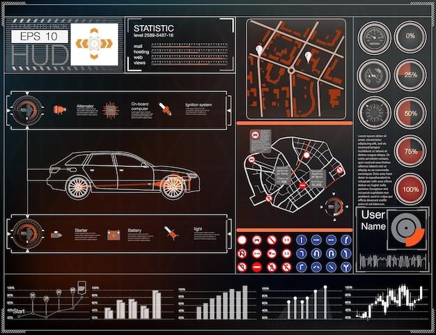 Пользовательский интерфейс автомобиля. карта hud ui. абстрактный виртуальный графический интерфейс пользователя касания. Premium векторы