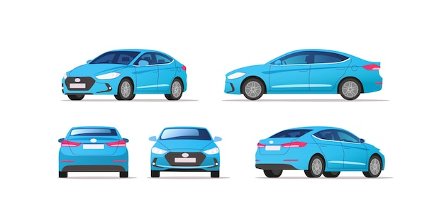 Car vector template on white background. business sedan isolated. Premium Vector
