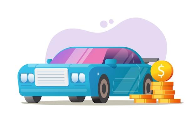 Car vehicle money concept vector, auto tax price idea, automobile expenses cost or loan leasing Premium Vector