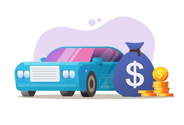 Car vehicle money expensive loan concept vector, auto tax price idea Premium Vector