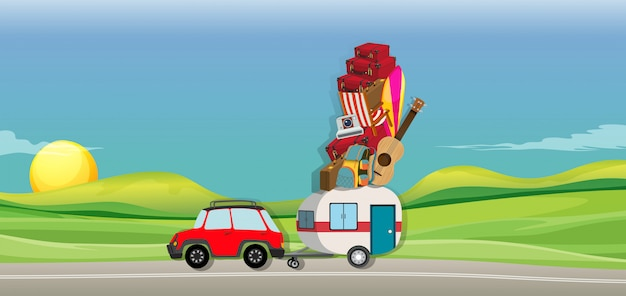 Car and wagon full of luggages on the road Free Vector