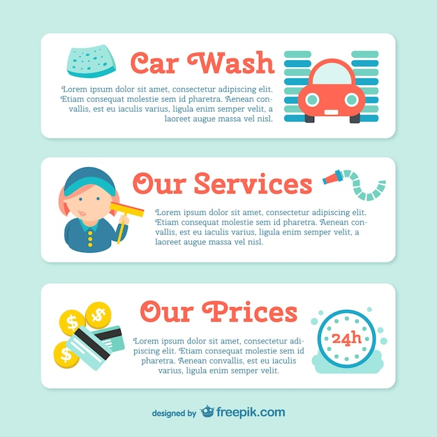 Car wash banner template vector free download for Car wash coupon template