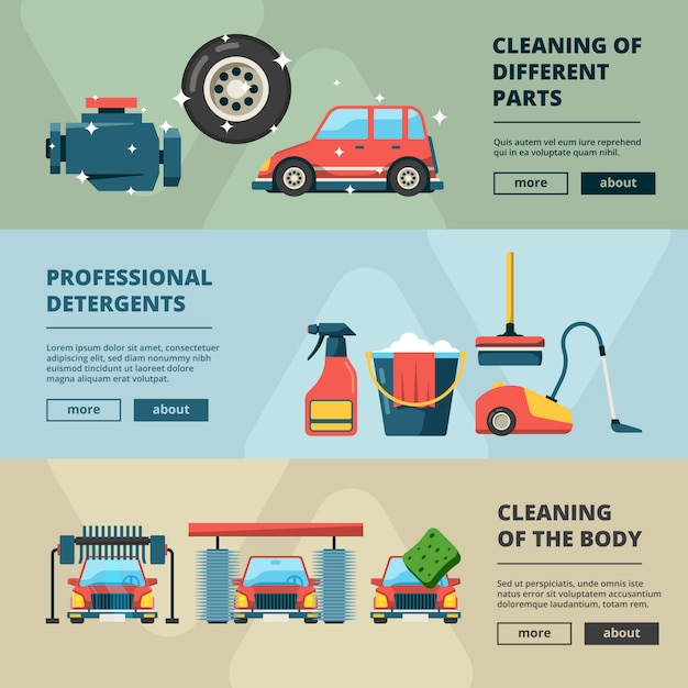 Car wash banners. cleaning service water bucket and wiping sponge concept pictures Premium Vector