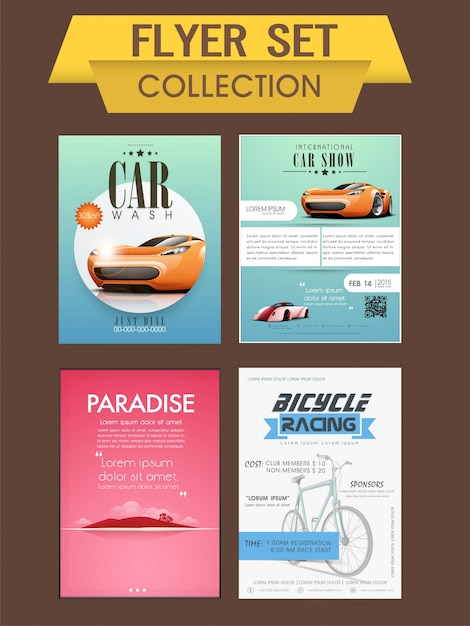 car wash car show and bicycle racing template banner or flyer collection premium vector