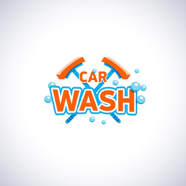 Car wash cartoon style emblem with bubbles and mop, isolated   logo template. Premium Vector