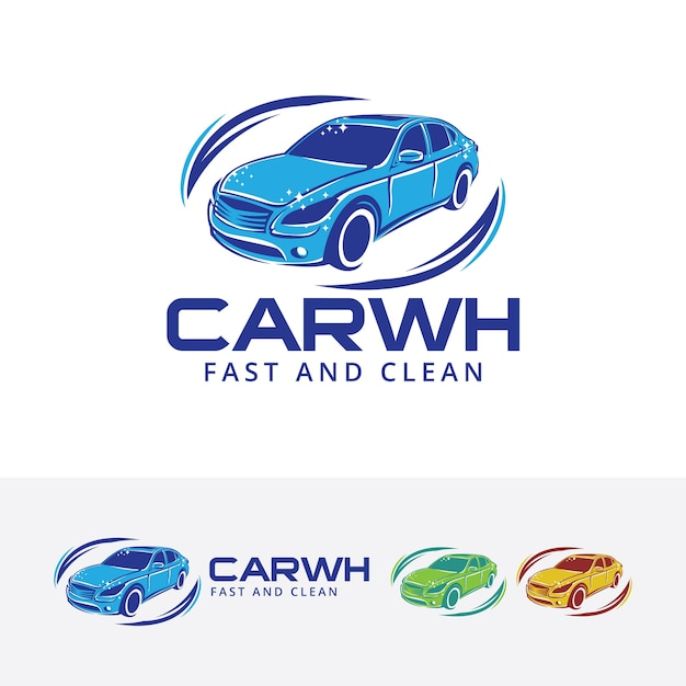 Car wash and cleaning vector logo template Premium Vector
