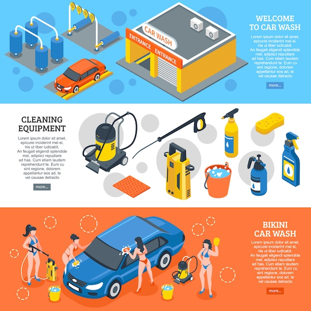 Car wash isometric banners set Free Vector