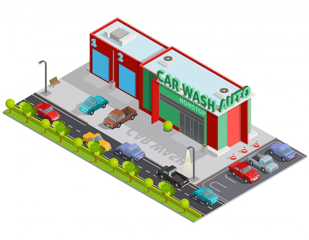 Car wash isometric composition Free Vector