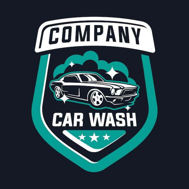 Car wash logo with classic car Premium Vector