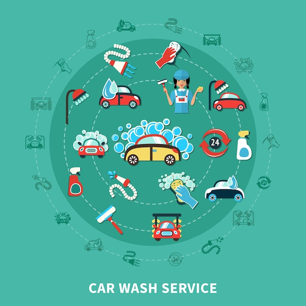 Car wash round composition Free Vector