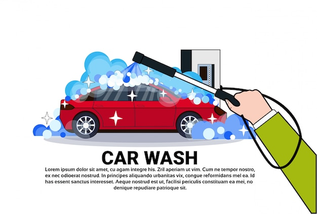 Car wash service banner with hand cleaning vehicle Vector | Premium