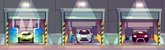 Car wash service station cartoon illustration. happy smiling worker washing Free Vector