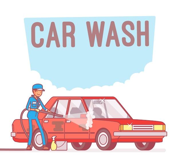 Car wash service Premium Vector