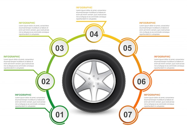 Car wheel. infographic template. Premium Vector