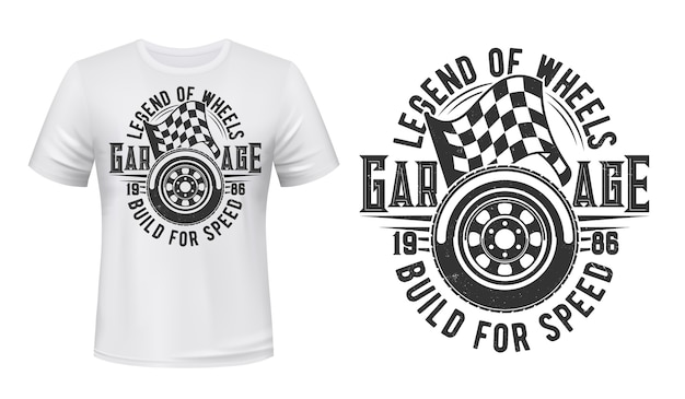 Car wheel and racing checkered flag t-shirt  print. sport car spire tire and start, finish flag illustration and typography. racing automobiles garage station apparel custom print Premium Vector